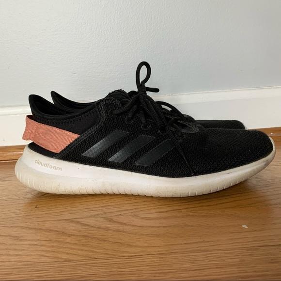 Adidas cloudfoam black, pink, white running shoes